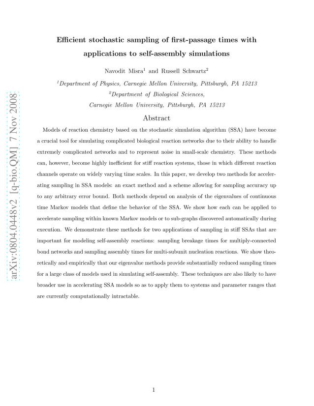 Navodit Misra - Efficient stochastic sampling of first-passage times with applications to self-assembly simulations