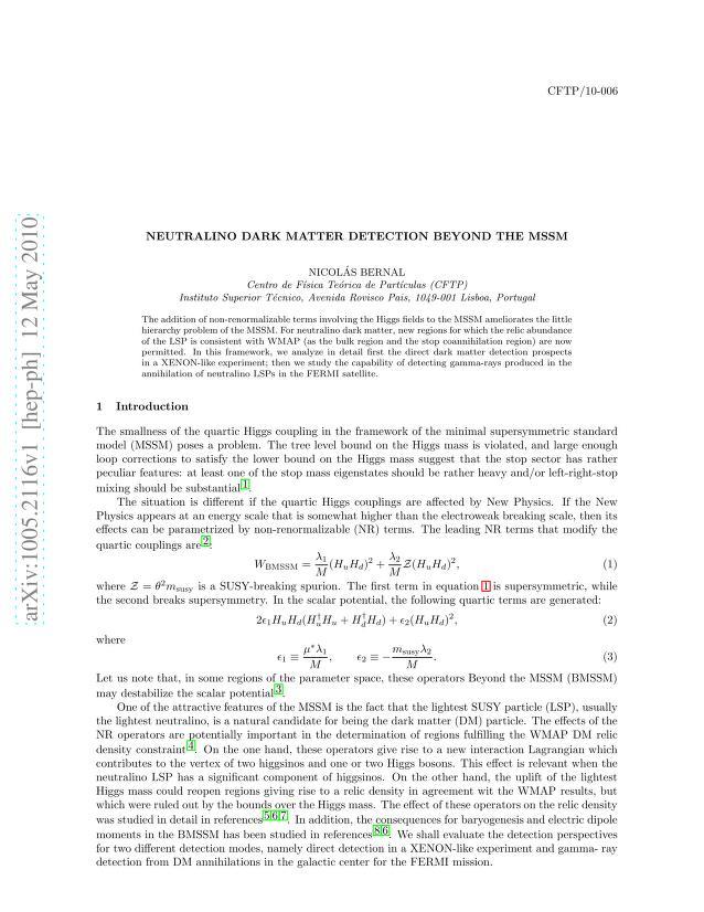 Nicolas Bernal - Neutralino dark matter detection beyond the MSSM