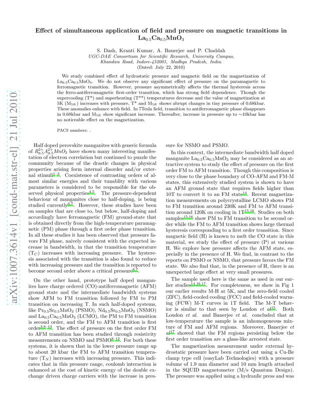 S. Dash - Effect of simultaneous application of field and pressure on magnetic transitions in La${_{0.5}}$Ca${_{0.5}}$MnO${_{3}}$