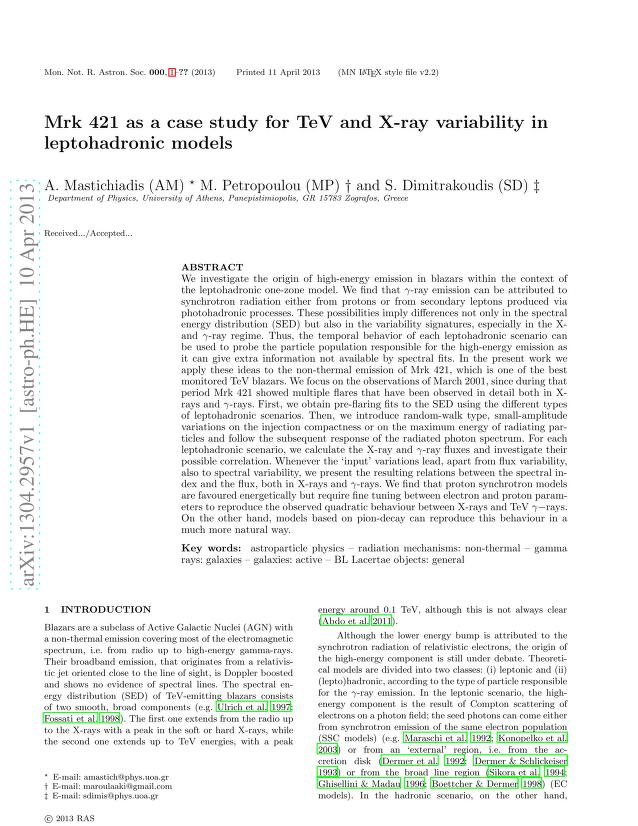 Apostolos Mastichiadis - Mrk 421 as a case study for TeV and X-ray variability in leptohadronic models