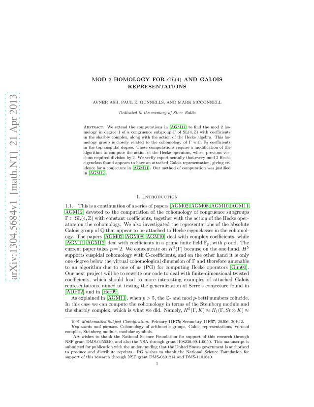 Avner Ash - Mod 2 homology for GL(4) and Galois representations