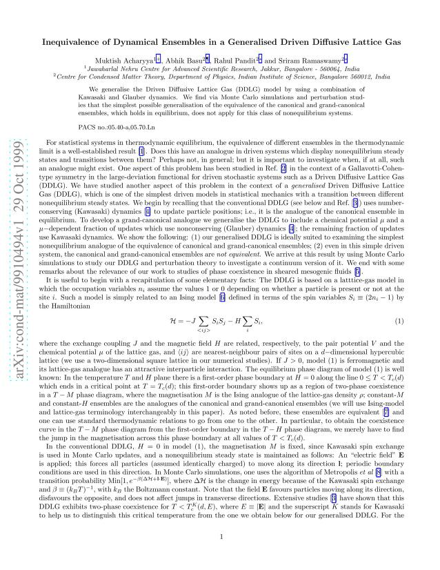 Muktish Acharyya - Inequivalence of Dynamical Ensembles in a Generalised Driven Diffusive Lattice Gas